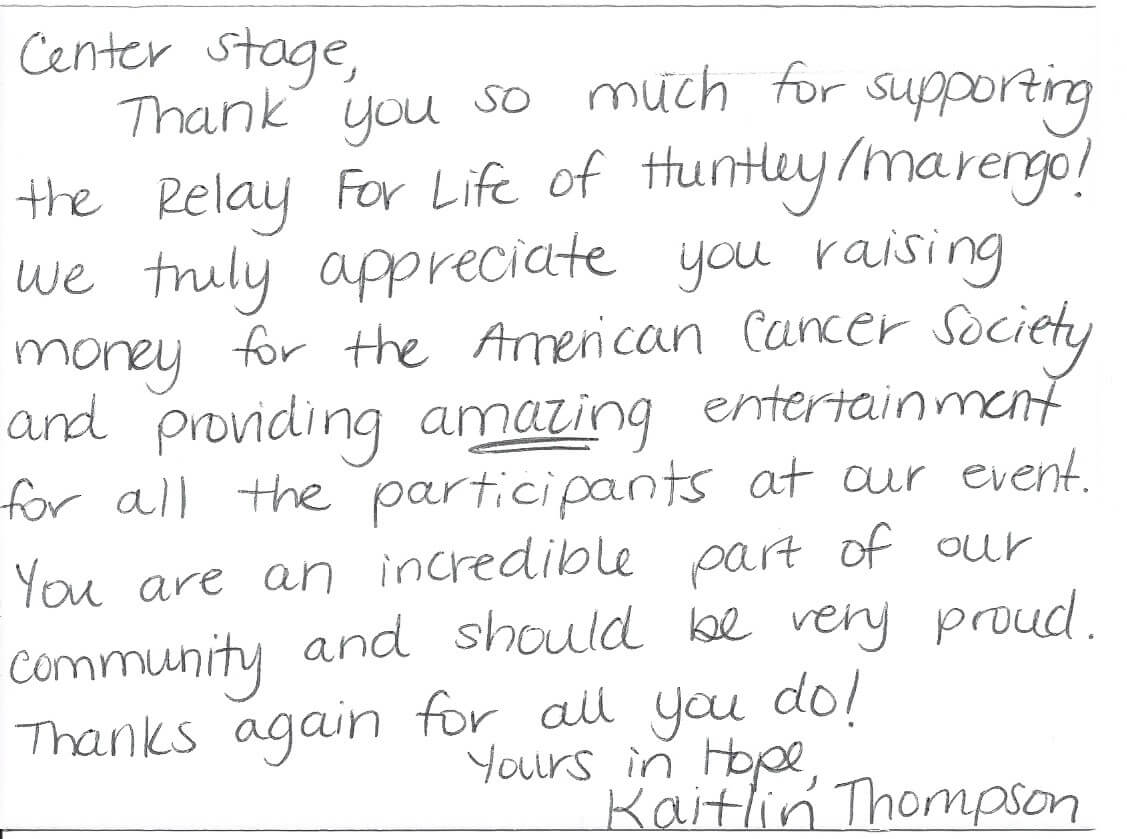 Letter from the American Cancer Society for Relay for Life